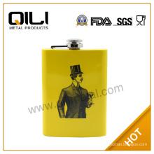 FDA 5oz yellow printing stainless steel funny groomsmen flasks