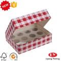 Caja de comida de cupcake barata con ventana transparente