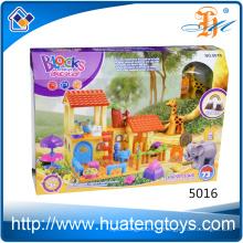 Nouveaux blocs de blocs d'animaux et de maisons en plastique ABS pour enfants