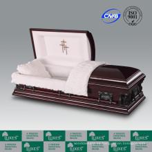 Alta calidad por mayor americana chapa barato ataúd ataúd para el entierro