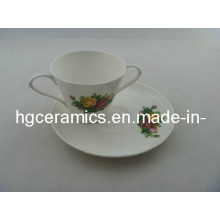 Double Handle Fine Bone China Mug with Saucer