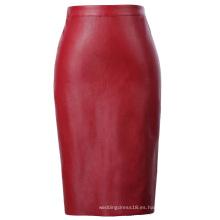 Kate Kasin Mujer de cuero sintético de espalda dividida Hips-envuelto rojo lápiz falda KK000601-2