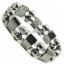 Magnetisches Hämatit Space Armband mit Legierung und 8MM magnetischen Hämatit Runde Perlen