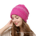 Women knitted winter acrylic custom beanie hats