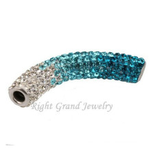 Mixed Color Long Bending Tube Shamballa Beads Charms For Bracelets
