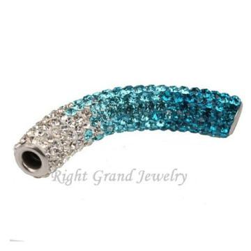 Mixed Color Long Bending Tube Shamballa Beads Charms For Bracelets