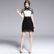Summer Women's 2020 New Arrival Black and White Stitching Lace Bow Dress Retro High Waist Dress