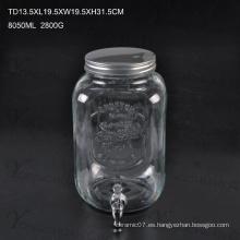 High Qualtiy 10L Jugo de vidrio Bebida Ice Cold Jar con grifo / gran capacidad de vidrio Mason Jar con escala