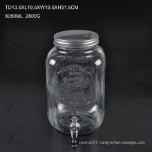 High Qualtiy 10L Glass Juice Beverage Ice Cold Jar with Tap / Big Capacity Glass Mason Jar with Scale