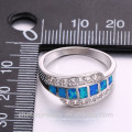 Elegante seção design zircão gemstone 925 anel de prata esterlina para as mulheres
