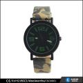 Reloj del ejército del reloj del ejército verde, reloj del cuarzo de la parte posterior del acero inoxidable para el deporte