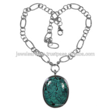 Tibetan Turquoise Gemstone 925 Sterling Silver Necklace Jewelry