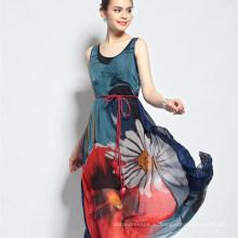 2017 Женщин Традиционные Длинные Модные Красивые Цветочные Макси Дамы Западной Платье Конструкций