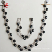 6-7mm Black Freshwater Pearl Jewelry Set