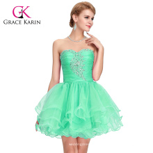 Grace Karin el Real Fotos de Off hombro Strapless Sexy corto rebordeado verde formal Homecoming vestido CL6077-3