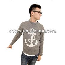 12STC0610 patrones de tejido de punto cuello suéter para hombre
