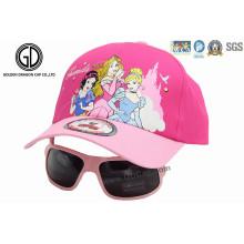 Hochwertige kundenspezifische Prinzessin Pink Baseball Kinder Cap mit Sonnenbrille