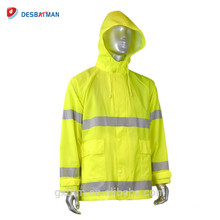 Pocket PVC Nylon High Visibility Safety Raincoat Suit With Detachable Hood