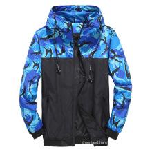 Hot Sale Men's Camo Patchwork Windbreak Jacket Custom