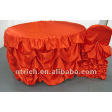 charmante satin gekräuselten Stuhl Abdeckung und Tabelle Tuch für Hochzeit, neuen Stil Stuhl Abdeckung und Tabelle Tuch