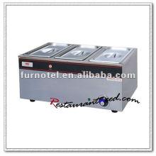 K096 Electric 3 Pans Stainless Steel Bain Marie Aquecedor de Comida para Catering