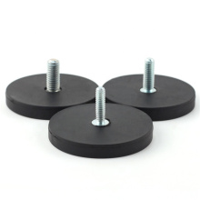 China Supplier Car Assemblies D43 D66 D88 Rubber Coated Neodymium Pot Magnets with Screw Threaded M5 M6 M8