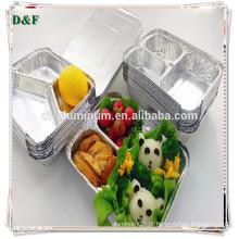 Folha de alumínio de 3 compartimentos Recipiente de alimentos seguros para microondas