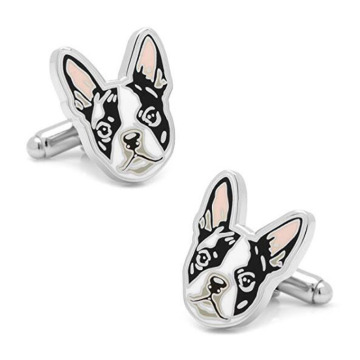 Cute Boston Terrier Dog Head Enamel Cufflinks