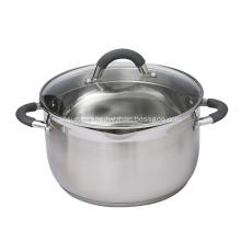 Panela de sopa de aço inoxidável com tampa de vidro