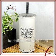 Weiße Glasur farbige Abziehbild keramische schwarze Toilettenbürstenhalter