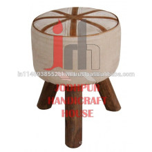 Industrial Leather Round Canvas with Wooden Legs Stool
