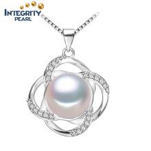 ААА Мода пресной воды Жемчужина подвеска 9-10мм полудрагоценный белый жемчуг Кулон ожерелье