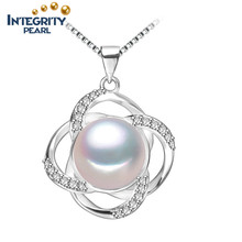AAA moda perla de agua dulce colgante 9-10mm semi redondo perla blanca collar colgante