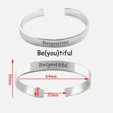Alta qualidade pulseira de aço inoxidável personalizado braceletes gravados
