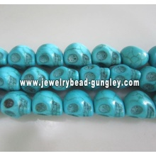 Howlite skull beads - medium blue