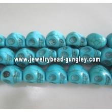 Grânulos de crânio Howlite - médio azul