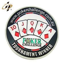 Nuevos productos de metal personalizado muere moneda de fichas de juego de casino de póquer de esmalte de plata