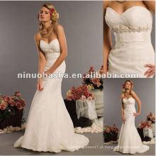 Vestido de casamento feito à mão Beaded Lace Appliqued