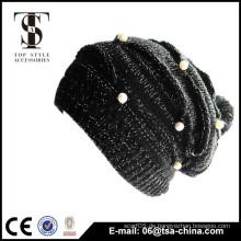 Schwarze Farbe Mode Design gestrickt befestigt Schmuck Hut