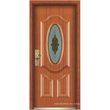 Puerta blindada de madera de acero (YF-G9017)