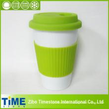 Taza de café de cerámica con tapa y banda de silicona (TM010610)