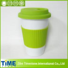Керамическая кружка кофе с силиконовой крышкой и полосой(TM010610)
