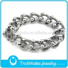 Bracelet en forme de bijoux lourds avec tête de tête en acier inoxydable Punk Biker Skull gothique en acier inoxydable