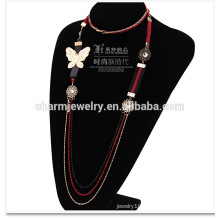 2015 NK013 Pearl Chain Fashion Sweater Chain Butterfly Knot Wholesale Sweater Chain Casual Style Alloy Long Necklace