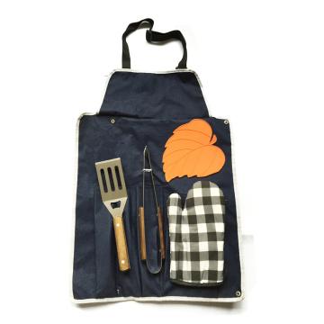 Набор инструментов для барбекю из хлопчатобумажной фартуковой перчатки из нержавеющей стали