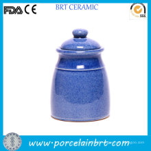 Tall Polished Blue Design Tea Canister