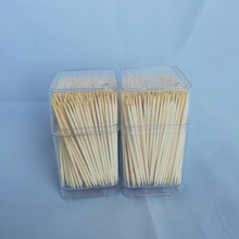 High Quality Hygienic Bamboo Toothpick Clear Square Bottle