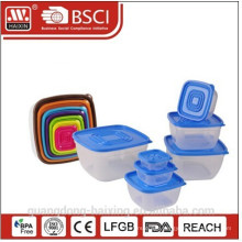 7pcs Square Plastic Food Container Set(0.13L/0.3L/0.6L/1.1L/1.8L/2.9L/4.4L)