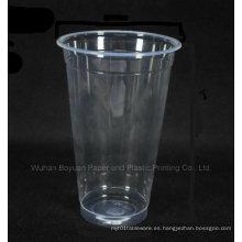 Copa desechable de plástico transparente de 90 mm de diámetro superior