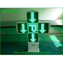 Double signe de croix de pharmacie du côté LED extérieur